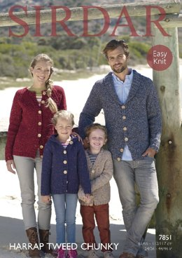 Cardigans in Sirdar Harrap Tweed Chunky - 7851- Downloadable PDF