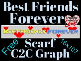 Best Friends Forever hearts Scarf C2C graph