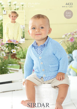 V-Neck and Round Cardigans in Sirdar Snuggly Baby Bamboo DK - 4433 - Downloadable PDF