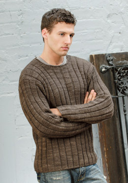 Men's Ribbed Sweater in Blue Sky Fibers Worsted Hand Dyes - Downloadable PDF