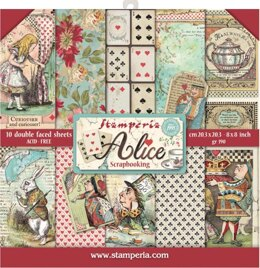 """Stamperia Intl Stamperia Double-Sided Paper Pad 8""""X8"""" 10/Pkg - Alice, 10 Designs/1 Each"""