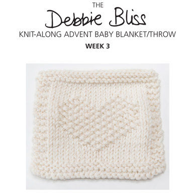 """Knit-Along Advent Baby Blanket Week 3"" : Blanket Knitting Pattern for Babies in Debbie Bliss DK 