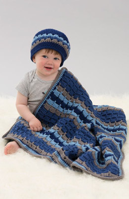 Tag A Long Blanket & Hat in Red Heart With Love Solids - LW4809 - Downloadable PDF