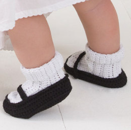 Mary Jane Baby Booties in Aunt Lydia's Bamboo Crochet Thread Size 3 - WC2005 - Downloadable PDF