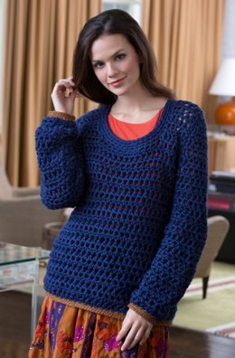 Summer Night Sweater in Red Heart Soft Solids - LW4111