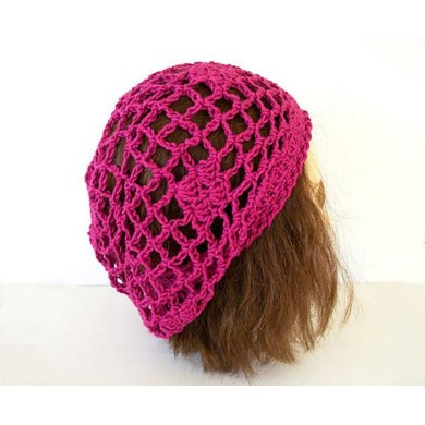 Fishnet Diamonds And Flower Lace Slouch Hat Crochet Pattern By One