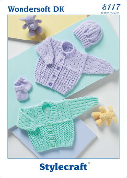Cardigans, Hat and Mittens in Stylecraft Wondersoft DK - 8117 - Downloadable PDF