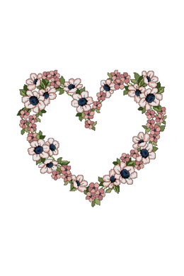 Floral Heart  in DMC - PAT0157 -  Downloadable PDF