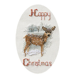 Derwentwater Designs Deer in a Snowstorm Cross Stitch Card Kit - 9cm x 13.3cm