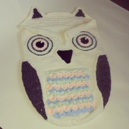 Baby knitted cocoon-with owl crochet details