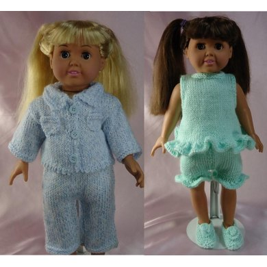 Pajama Party!,  Knitting Patterns fit American Girl and other 18-Inch Dolls