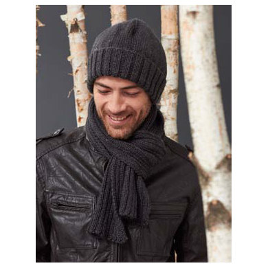Mens Basic Hat And Scarf Set In Caron Simply Soft Heathers