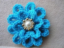 692 CROCHET FLOWER, turquoise loopy flower