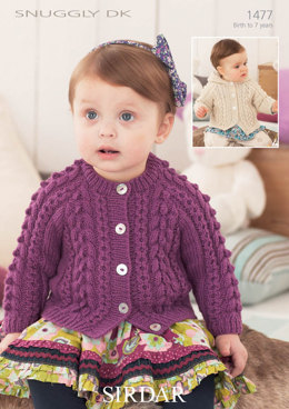 Cabled cardigan with and without hoodie in Snuggly DK - 1477