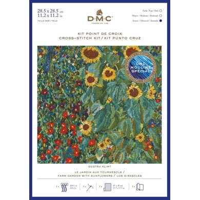 DMC Gustav Klimt- Farm Garden With Sunflowers Cross Stitch Kit - 30cm x 30cm