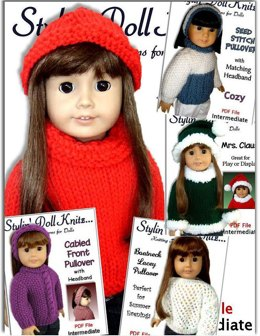 5 pdf knitting patterns. Fits 18 inch and American Girl Doll 01