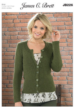 Cardigan in James C. Brett Aztec Aran - JB226
