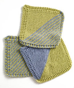 Garter Square Washcloths  in Lion Brand Cotton-Ease - 81065AD
