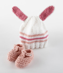 Bunny Hat and Bootiesin Lion Brand Vanna's Choice and Vanna's Choice Baby - L10738