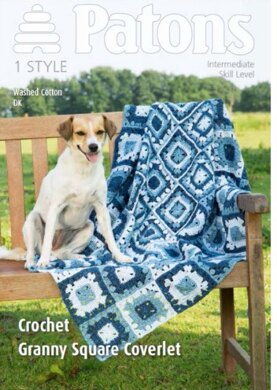 Crochet Granny Square Coverlet in Washed Cotton DK - 3991