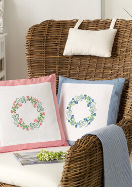 Anchor Aromatic Plants - Cushions with Flower Wreath, Pink and Blue - 0060044-00901_01 -  Downloadable PDF
