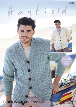 Cardigans in Hayfield Bonus Aran Tweed - 8100 - Downloadable PDF