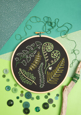Hawthorn Handmade Forest Ferns Black Embroidery Kit