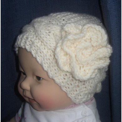 Cable Hat with Flower