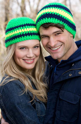 Cool Stripes Beanie in Red Heart Heads Up - LW3917 - Downloadable PDF
