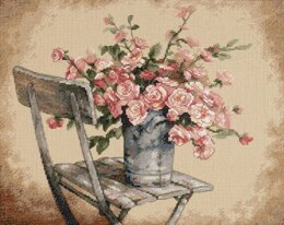 Dimensions Roses on White Chair Cross Stitch Kit - 36cm x 28cm