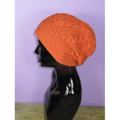Rib Band Cable Slouch Hat