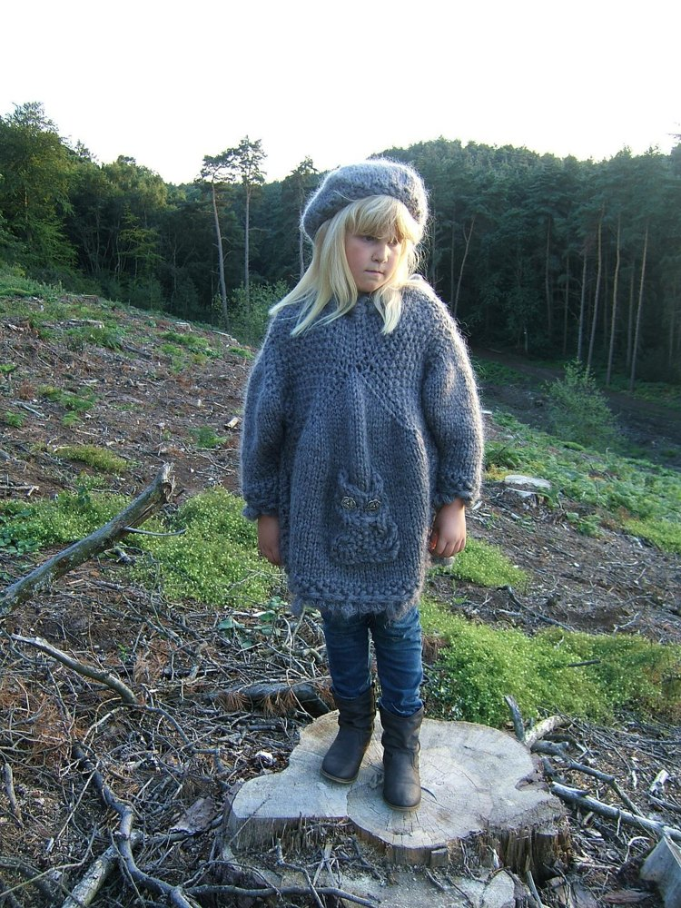 Child Adult Rustic Owl Smock Sweater With Beret Knitting