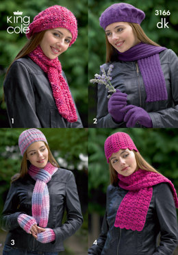 Hats, Scarves & Gloves in King Cole Merino Blend DK and Moods DK - 3166