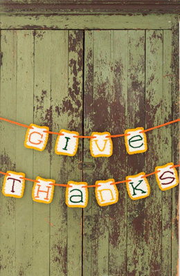 Give Thanks Banner in Red Heart Super Saver Economy Solids - LW4986 - Downloadable PDF