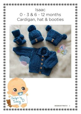Isaac baby knitting pattern cardigan, hats and booties 0-3 mths & 6-12m