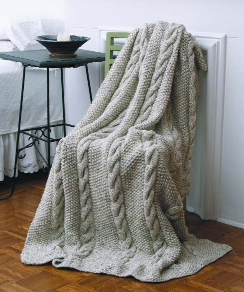 Natural Cables Throw In Lion Brand Wool Ease Chunky