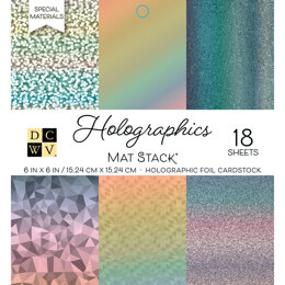 "American Crafts DCWV Single-Sided Cardstock Stack 6""X6"" 18/Pkg - Holographics, 6 Designs/3 Each"