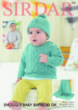"""Hat, Sweater and Blanket in Sirdar Snuggly Baby Bamboo DK - 4731  - Downloadable PDF"""