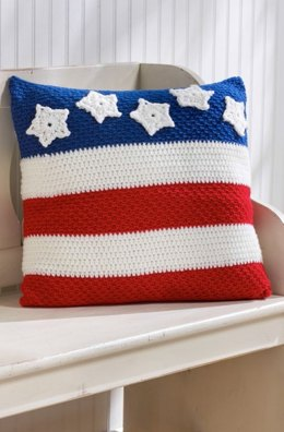 Patriotic Pillow in Red Heart Super Saver Economy Solids - LW3791