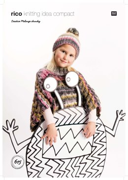 Poncho and Hat in Rico Creative Melange Chunky - 615 - Downloadable PDF