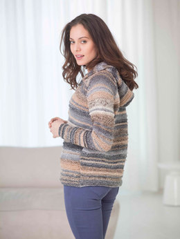 Ridged Hooded Cardigan in Lion Brand Tweed Stripes - L32330