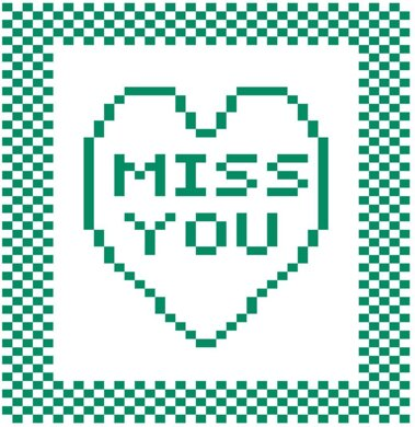 'Miss You' Heart Dishcloth