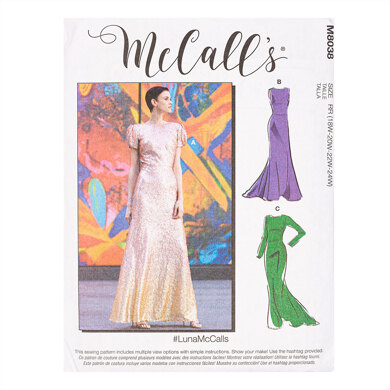 McCall's #LunaMcCalls - Misses' & Women's Special Occasion Dresses M8038 - Sewing Pattern