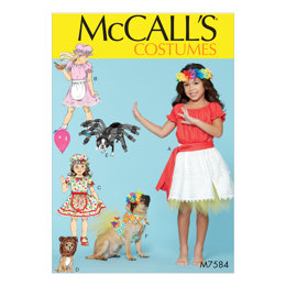 McCall's Kids' Gathered Top ans Skirt, and Dog Costumes M7584 - Sewing Pattern