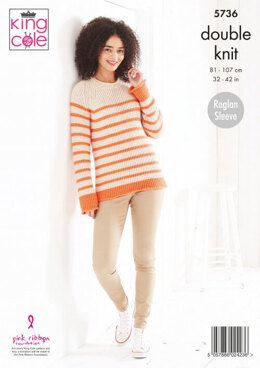 Ladies Sweater and Cardigan in King Cole Cottonsoft DK - 5736 - Leaflet