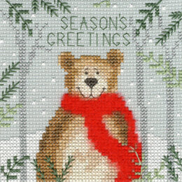 Bothy Threads Xmas Bear Cross Stitch Kit - 10cm x 10cm