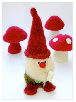 Felted Woolly Gnome & Mushroom