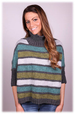 Striped Poncho in Plymouth Yarn Merino Textura - 3023 - Downloadable PDF