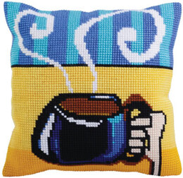 Collection D'Art Cup of Coffee Cross Stitch Cushion Kit - Multi