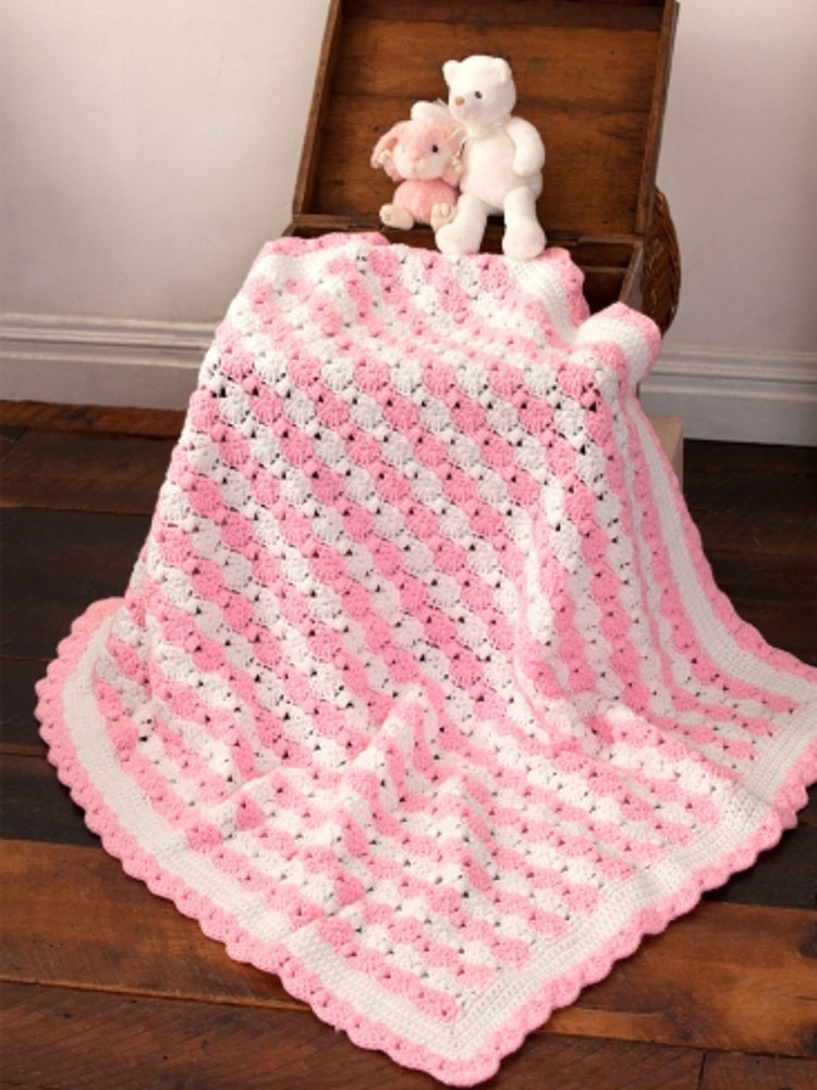Peppermint Puff Baby Blanket In Caron One Pound